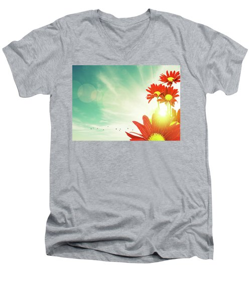 Men's V-Neck T-Shirt featuring the photograph Red Flowers Spring by Carlos Caetano