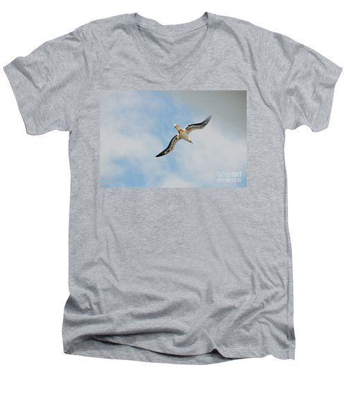 Men's V-Neck T-Shirt featuring the digital art Red Footed Booby Bird 3 by Eva Kaufman