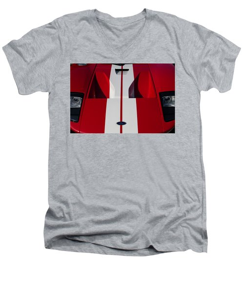 Men's V-Neck T-Shirt featuring the photograph Red Ford Gt Hood by Joel Witmeyer