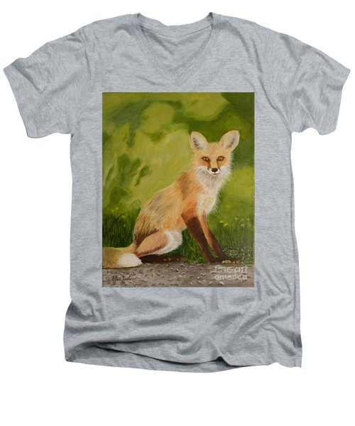 Red Fox 1 Men's V-Neck T-Shirt