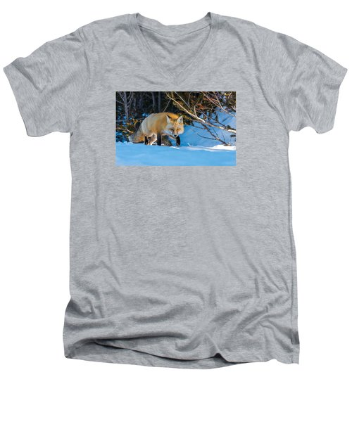 Men's V-Neck T-Shirt featuring the photograph Red Fox In Winter Snow by Yeates Photography