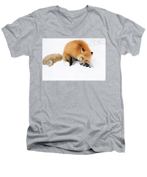 Red Fox To Base Men's V-Neck T-Shirt