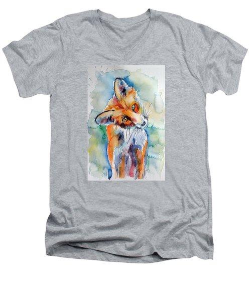 Red Fox Watching Men's V-Neck T-Shirt by Kovacs Anna Brigitta