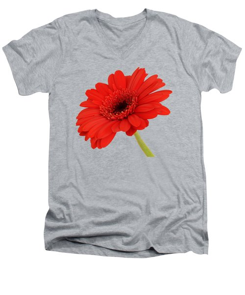 Red Gerbera Daisy 2 Men's V-Neck T-Shirt by Scott Carruthers