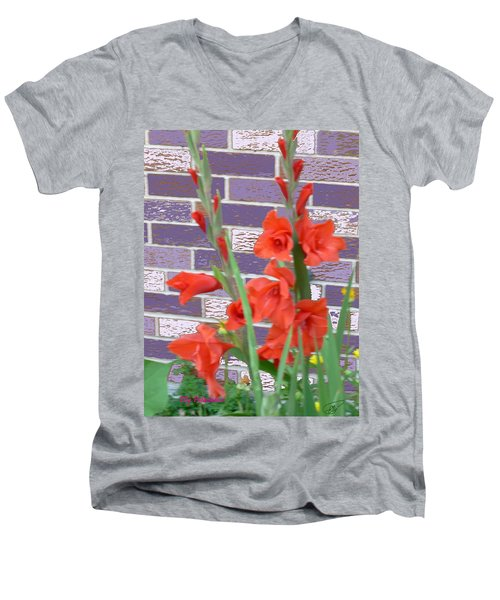 Red Gladiolas Men's V-Neck T-Shirt