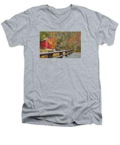 Red Grist Mill Front Entrance Men's V-Neck T-Shirt