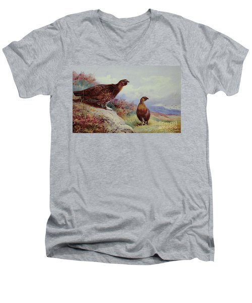 Red Grouse On The Moor, 1917 Men's V-Neck T-Shirt by Archibald Thorburn