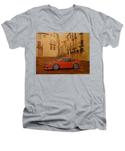 Red Gt3 Porsche Men's V-Neck T-Shirt