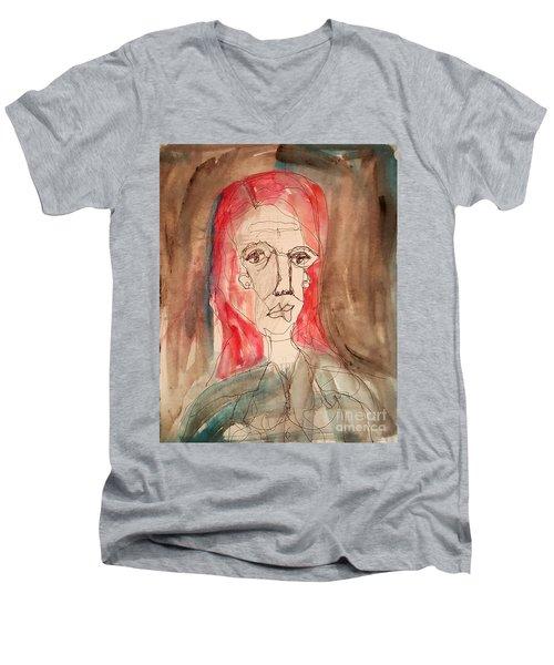 Red Headed Stranger Men's V-Neck T-Shirt by A K Dayton