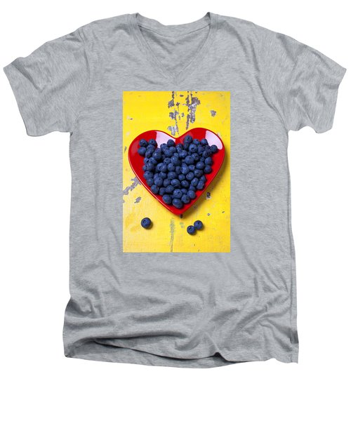 Red Heart Plate With Blueberries Men's V-Neck T-Shirt by Garry Gay
