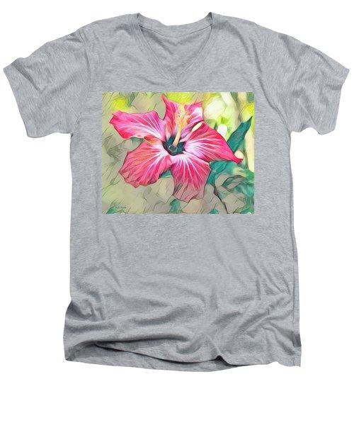 Red Hibiscus Men's V-Neck T-Shirt