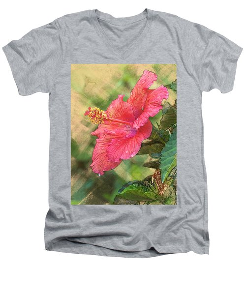 Red Hibiscus Men's V-Neck T-Shirt