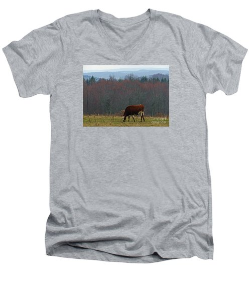 Men's V-Neck T-Shirt featuring the photograph Red Holstein Of The Hills by Christian Mattison