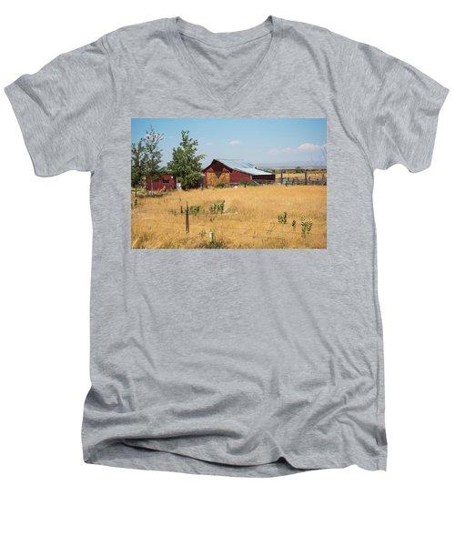 Red Home On The Range Men's V-Neck T-Shirt