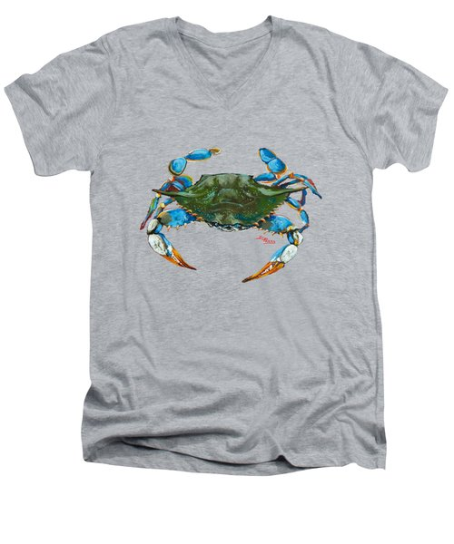 Men's V-Neck T-Shirt featuring the painting Red Hot Crab by Dianne Parks
