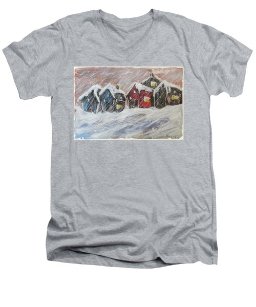 Red House In The Snow Men's V-Neck T-Shirt