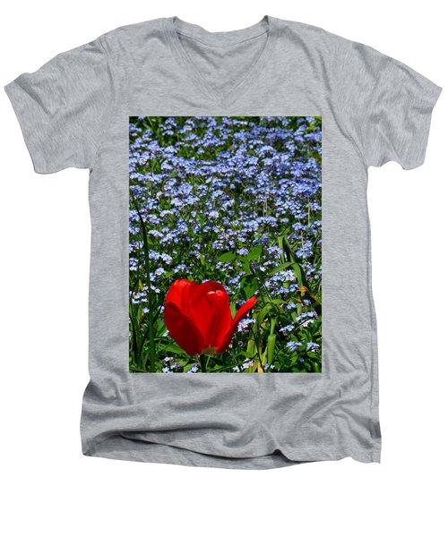 Red In Blue2 Men's V-Neck T-Shirt