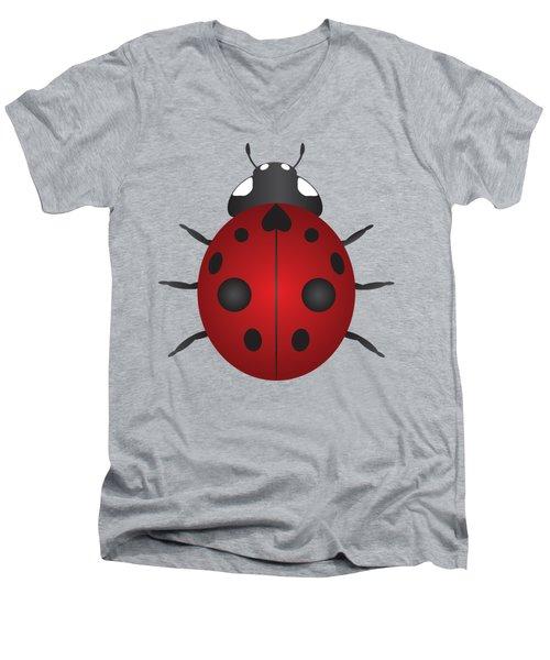Red Ladybug Color Illustration Men's V-Neck T-Shirt by Jit Lim