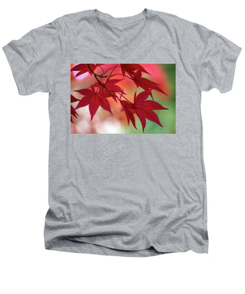 Men's V-Neck T-Shirt featuring the photograph Red Leaves by Clare Bambers