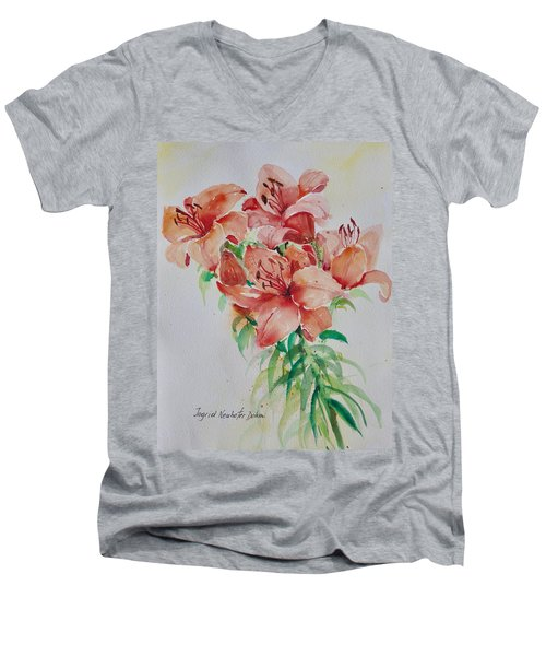 Red Lilies Men's V-Neck T-Shirt