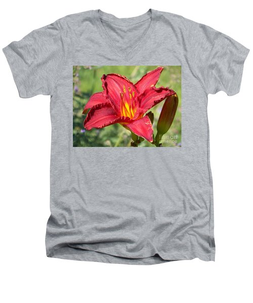 Men's V-Neck T-Shirt featuring the photograph Red Flower by Eunice Miller