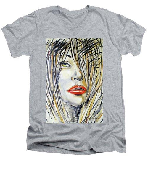 Red Lipstick 081208 Men's V-Neck T-Shirt by Selena Boron