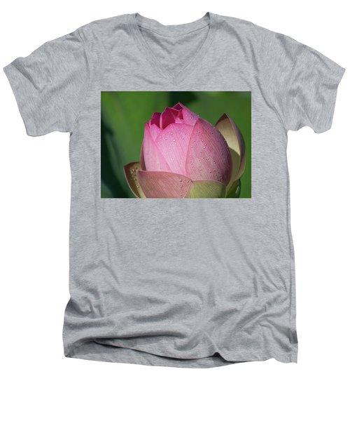 Red Lotus Blossom Men's V-Neck T-Shirt