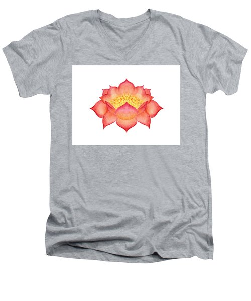 Men's V-Neck T-Shirt featuring the painting Red Lotus by Elizabeth Lock