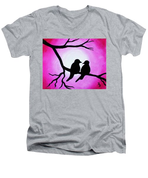 Men's V-Neck T-Shirt featuring the painting Red Love Birds Silhouette by Bob Baker