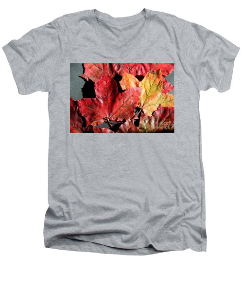 Men's V-Neck T-Shirt featuring the photograph Red Maple Leaves Digital Painting by Barbara Griffin