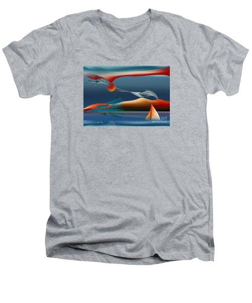 Red Moon Sign Men's V-Neck T-Shirt by Leo Symon