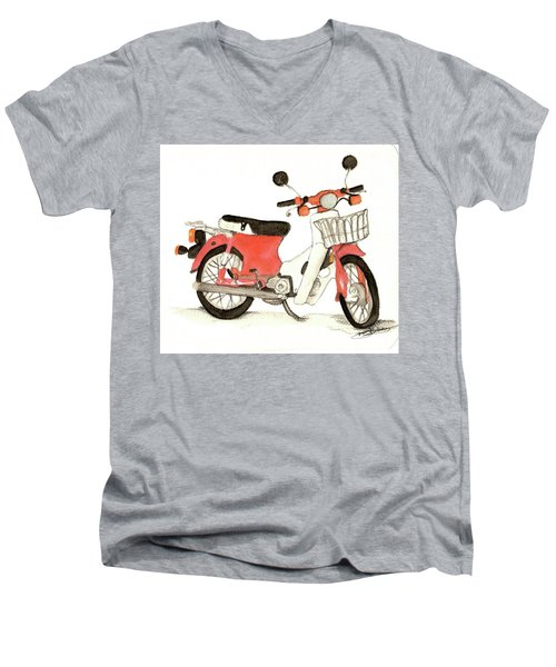 Red Motor Bike Men's V-Neck T-Shirt