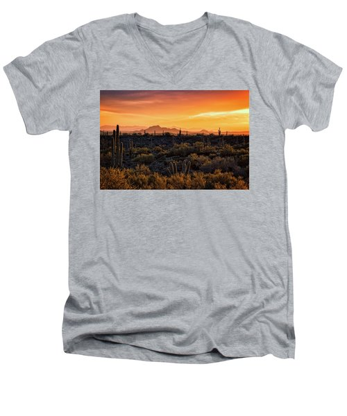 Men's V-Neck T-Shirt featuring the photograph Red Mountain Sunset Part Two  by Saija Lehtonen
