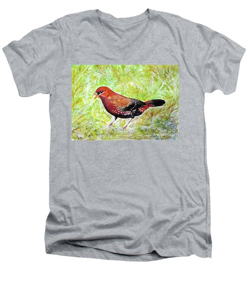 Red Munia Men's V-Neck T-Shirt by Jasna Dragun