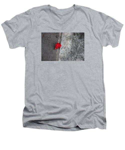 Men's V-Neck T-Shirt featuring the photograph Red On Gray by Allen Carroll