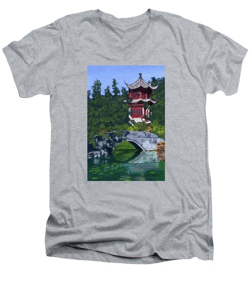 Men's V-Neck T-Shirt featuring the painting Red Pagoda by Lynne Reichhart