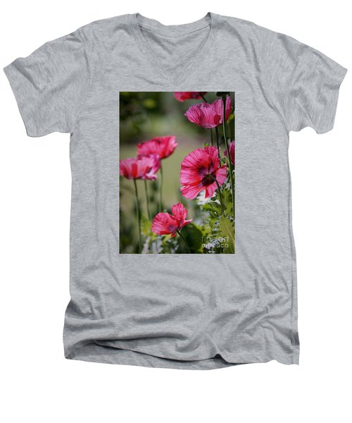 Men's V-Neck T-Shirt featuring the photograph Red Poppies by Lisa L Silva