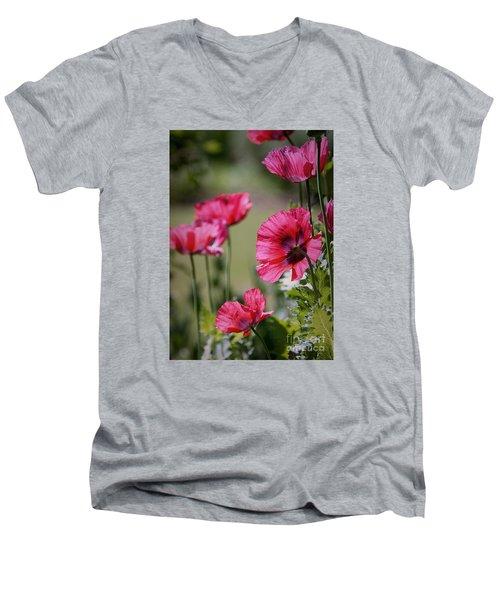 Red Poppies Men's V-Neck T-Shirt by Lisa L Silva