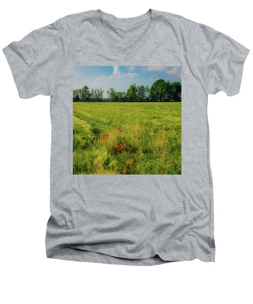 Red Poppies On A Green Wheat Field Men's V-Neck T-Shirt