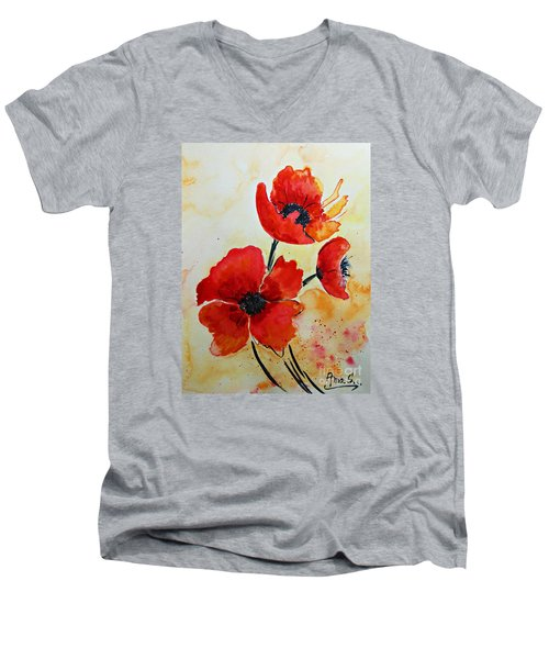 Red Poppies Watercolor Men's V-Neck T-Shirt by AmaS Art