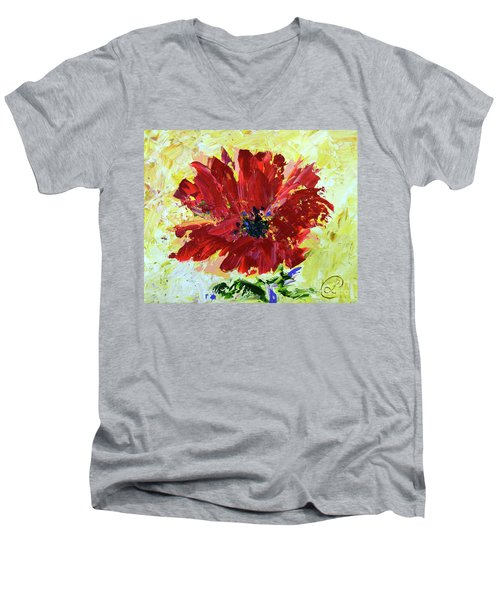 Red Poppy Men's V-Neck T-Shirt by Lynda Cookson