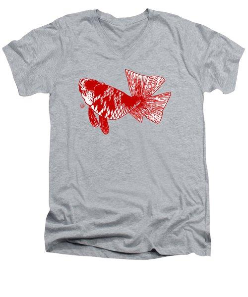 Red Ranchu Men's V-Neck T-Shirt by Shih Chang Yang