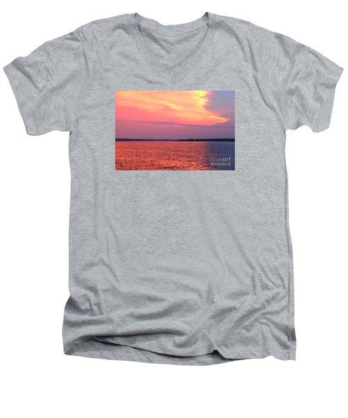 Red Reflection  Men's V-Neck T-Shirt by Yumi Johnson