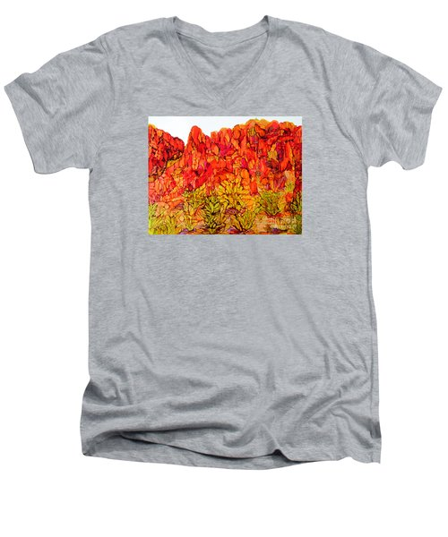 Red Rock Canyon Veiw From The Loop Men's V-Neck T-Shirt by Vicki  Housel