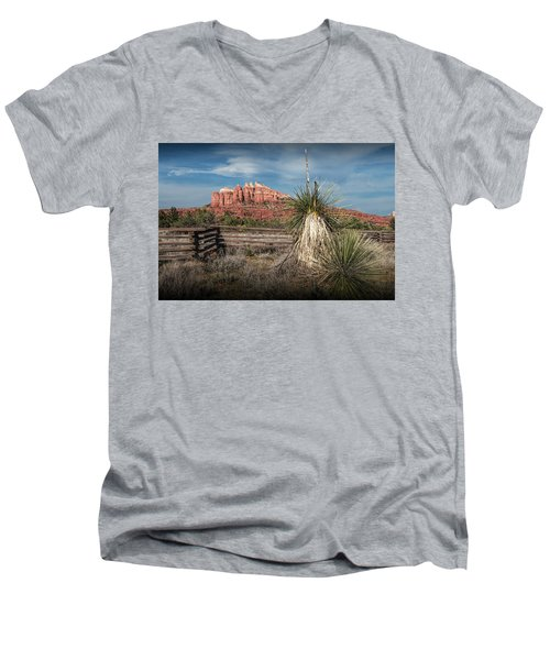 Men's V-Neck T-Shirt featuring the photograph Red Rock Formation In Sedona Arizona by Randall Nyhof