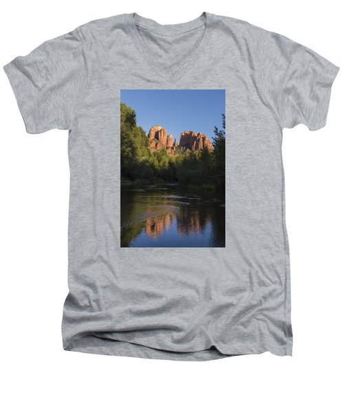Men's V-Neck T-Shirt featuring the photograph Red Rock Reflections by Laura Pratt