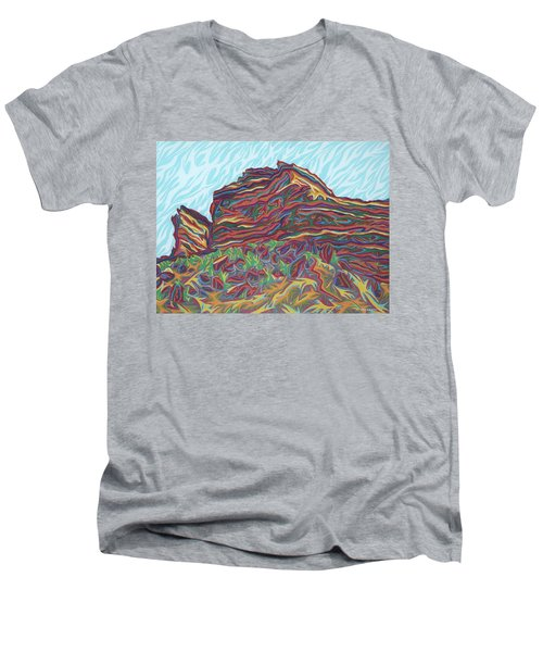 Red Rocks Men's V-Neck T-Shirt by Robert SORENSEN