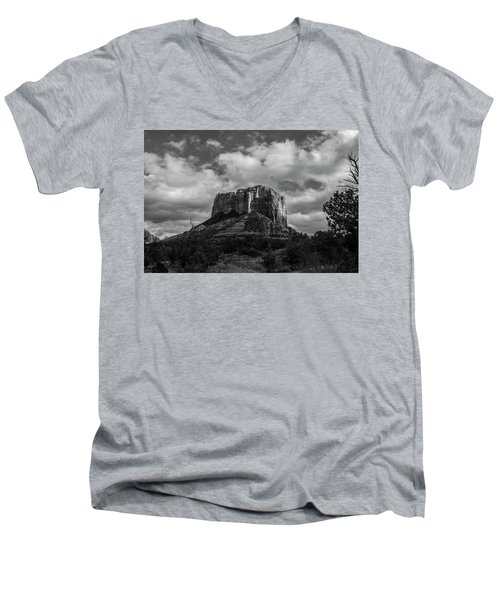 Men's V-Neck T-Shirt featuring the photograph Red Rocks Sedona Bnw 1 by David Haskett