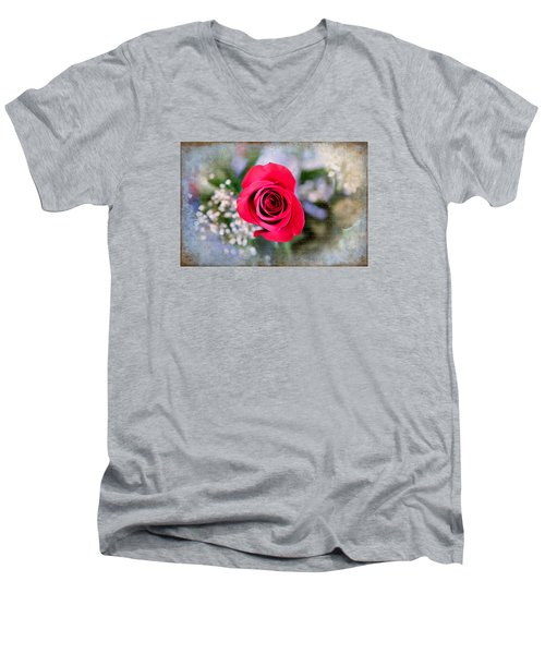 Red Rose Elegance Men's V-Neck T-Shirt by Milena Ilieva