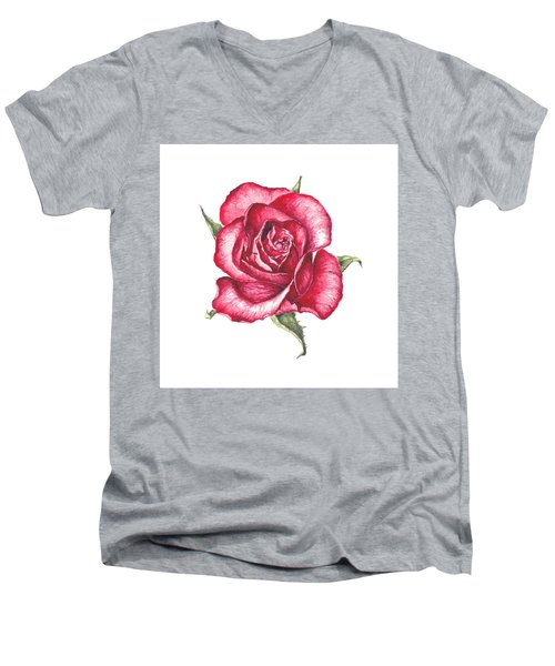 Men's V-Neck T-Shirt featuring the painting Red Rose by Heidi Kriel